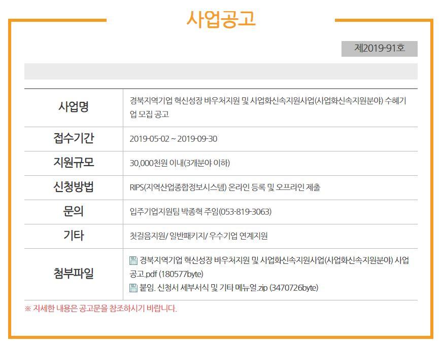 경북지역기업 혁신성장 바우처지원 및 사업화신속지원사업 모집공고