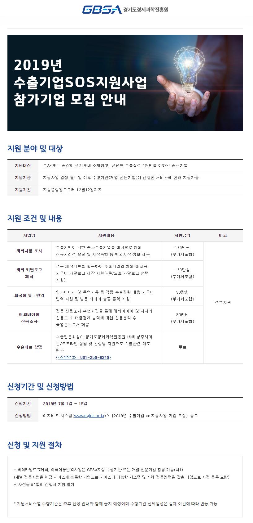 2019 수출기업SOS지원사업 참가기업 모집 안내